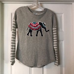 Crown & Ivy elephant striped sweatshirt size XS